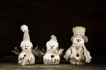 Weihnachten Dekoration: Drei Schneemänner