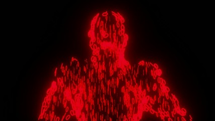 Binary man with orb glowing data 0 1 red