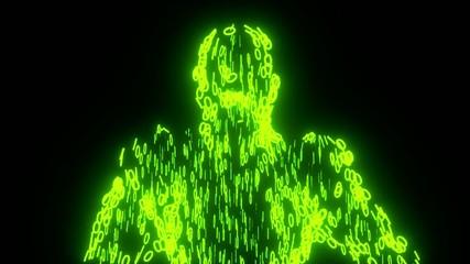 Binary man with orb glowing data 0 1 green