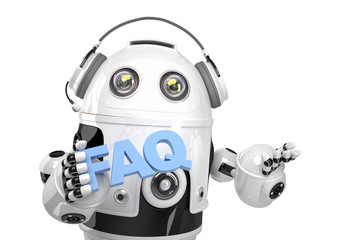 Robot holding FAQs sign. Isolated. Contains clipping path