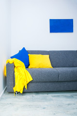 Interior design with blue and yellow details