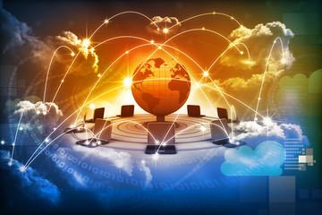 Cloud computing concept, global computer network .