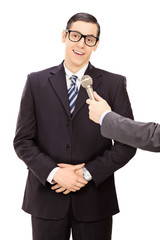 Young businessman being interviewed