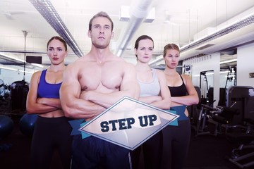 The word step up and serious fitness class posing together