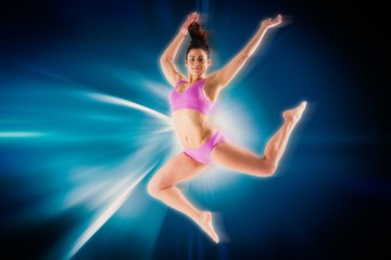Composite image of fit brunette jumping and posing