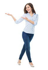 Young woman presenting something