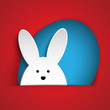 Happy Easter Rabbit Bunny on Red Background