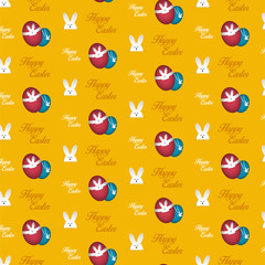 Happy Easter Rabbit Bunny Orange Seamless Background
