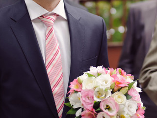 Pink Tie and Bouquet