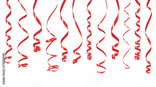 Red party ribbons banner - 79290040