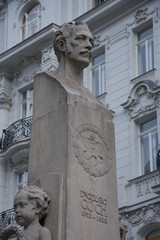 Marble bust on a tall column of Georg Coch, Wien, Austria