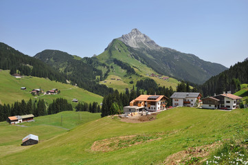Town Mayrhofen in the Zillertal in the Austrian state of Tyrol