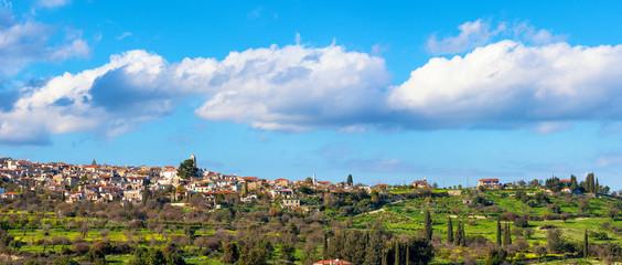 Panoramic view of Kato Lefkara village. Limassol District, Cypru