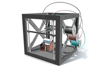 3D printer maakt een 3D print van een huis in kleur