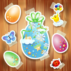Easter background with paper elements