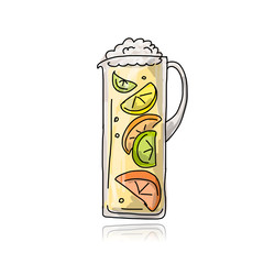 Jar with cocktail, sketch for your design