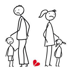 Scheidung - Paar in Trennung mit Kindern