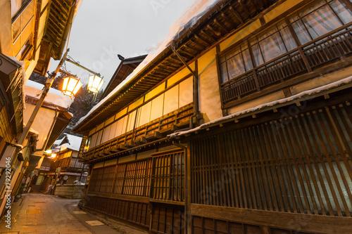Foto op Plexiglas Japan 日本 長野 渋温泉街 The wooden building where Japanese Nagano Onsen