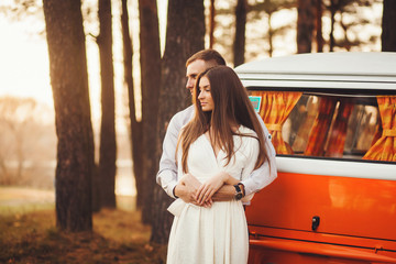 Young couple in love outdoor. Sensual portrait of couple.