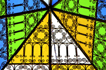 colorated glass and sun in morocco  and light