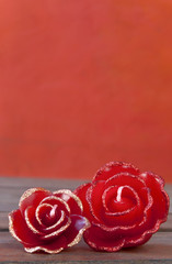 The red rose candle set