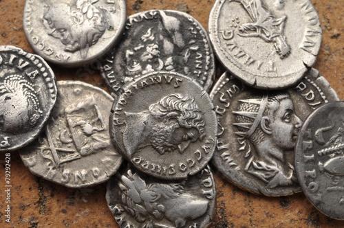 Leinwandbild Motiv collection monnaies antiques