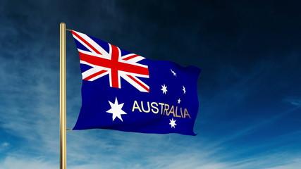Australia flag slider style with title Australia. Waving in the