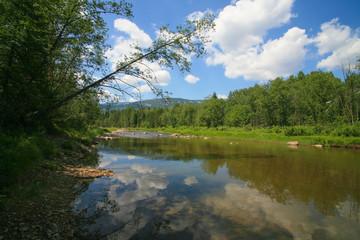 landscape river mountain wood sky