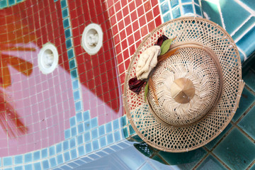 A bamboo hat at pool