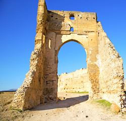 morocco arch in africa old construction street  the blue sky