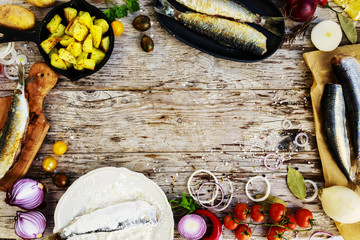 Background-Fried fish: herring with potatoes, Swedish traditiona
