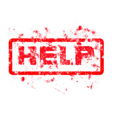 help Grungy red dirty ink stamp, vector format