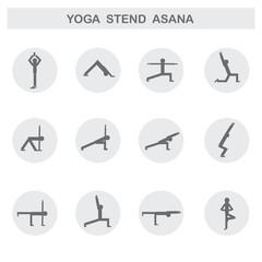 Set of icons. Poses yoga asanas. Vector