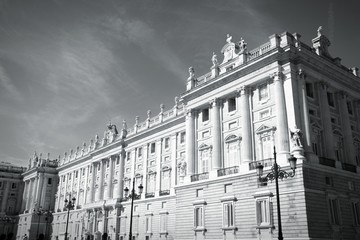 Madrid Royal Palace. Black and white.