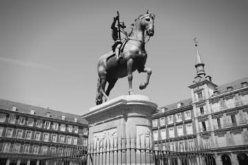 Madrid - Plaza Mayor. Black and white.