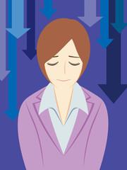 ビジネスパーソン:「お詫びする」女性会社員+背景