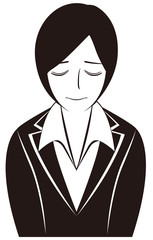 ビジネスパーソン:「お詫びする」女性会社員-モノクロ版