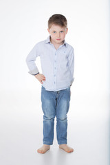 cute male kid on white background