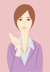 ビジネスパーソン:「ご案内」する女性会社員+背景
