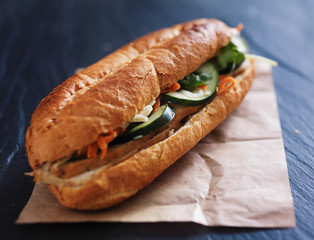 vietnamese bahn mi sandwich with steamed pork