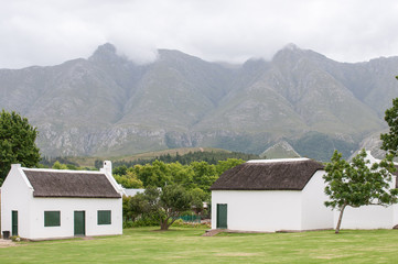 Historic buildings in Swellendam in front of Langeberg mountains