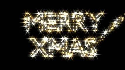 Merry Xmas text in gold and silver sparkles particles fairy dust