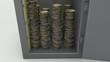 monete che finiscono nella cassaforte