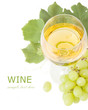 White wine, grapes leaves and grapes berries