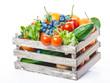 Leinwanddruck Bild - Obst und Gemüse in Holzkiste