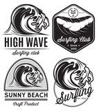 logos on the theme of water, surfing, ocean, sea