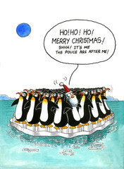 Cartoon gag about penguins' resemblance