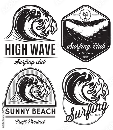 logos on the theme of water, surfing, ocean, sea - 79297247