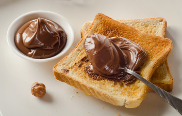 Fresh Toast with chocolate spread for a sweet breakfast