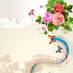 Background with roses and butterflies © Merlinul